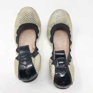 Reiss Gold Suede Polka Dots Ballerina Flats Size 8